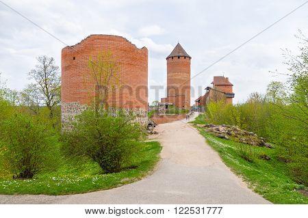SIGULDA LATVIA - May 2011: Ruins of Turaida castle on springtime Sigulda Latvia