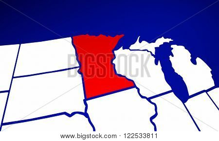 Minnesota MN State United States of America 3d Animated State Map