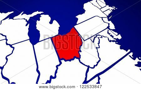 Ohio OH State United States of America 3d Animated State Map