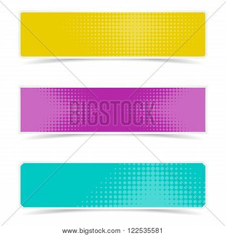 Colorful vector banners with halftone design and shadows