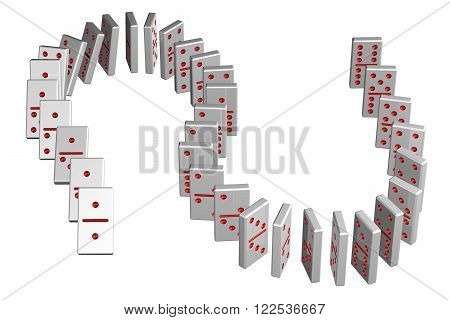Concept : domino effect isolated on white background. 3D render.