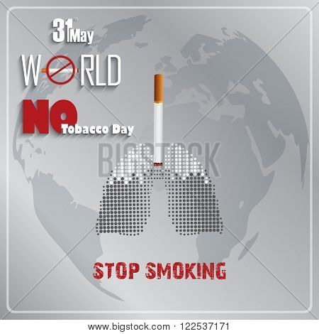 Illustration of Stop smoking for 31st May the World No Tobacco Day poster