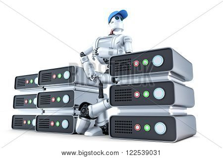 Robot with a stack of servers hosting concept. Isolated over white. Contains clipping path