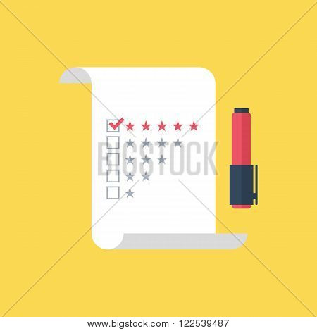 Five star rating checklist with felt tip pen on flat style. Five star rating checklist icon. Five star rating checklist symbol. Vector illustration.