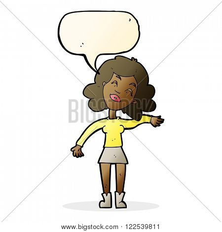 cartoon woman only joking with speech bubble
