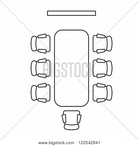 Meeting Room Layout. Conference Boardroom Outline Style. Vector illustration