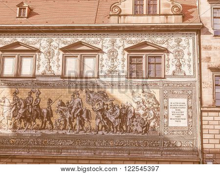 Fuerstenzug Procession Of Princes In Dresden, Germany Vintage