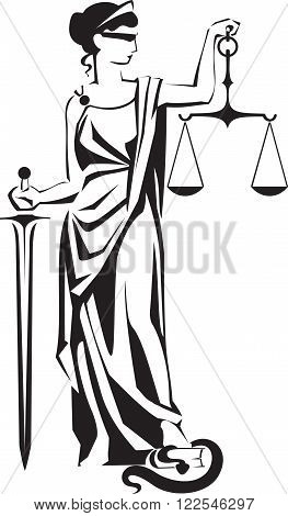 Justice lady Themis Femida with scales and sword vector illustration