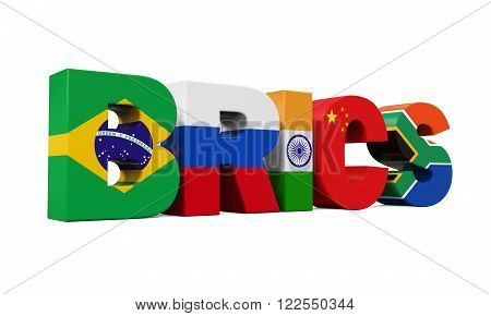 BRICS Concept Illustration isolated on white background. 3D render
