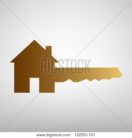 Home Key sign. Flat style icon with golden gradient