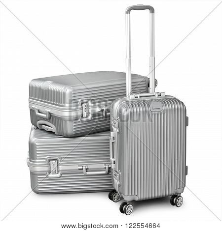 three silver suitcase isolated on white background