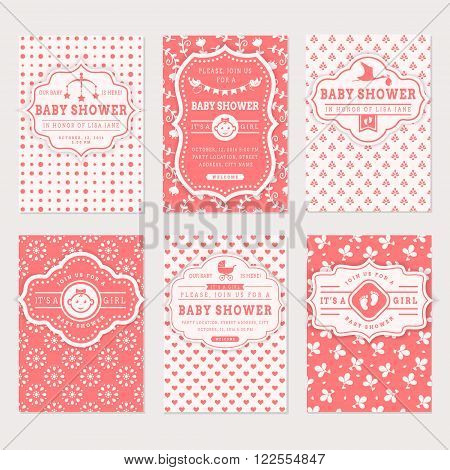 Baby shower set. Cute invitation cards for girl baby shower party. Vector collection on white and pink colors.