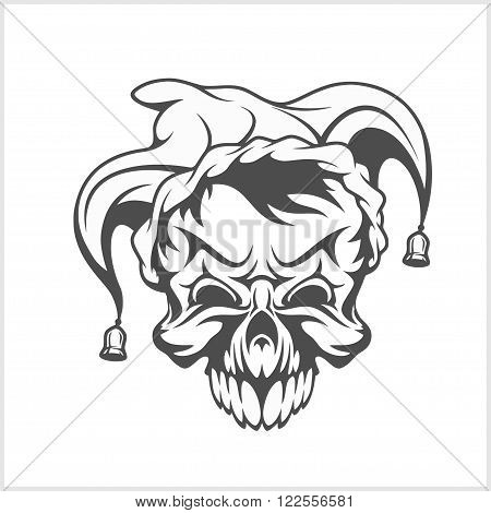 Joker skull wearing a clown jesters cap hat with two bells. Vector isolated illustration.