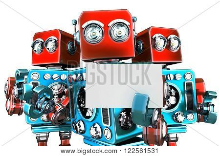 Group of robots holding white business card. Isolated over white. Clipping path