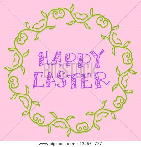 Happy Easter  Vector Background Simply Hand Drawn Style. Handlettering.