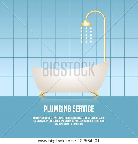 Vector template illustration of bathtub made in eyecatching bright style. Plumbing service concept illustration. Design element logotype for a shop product or company