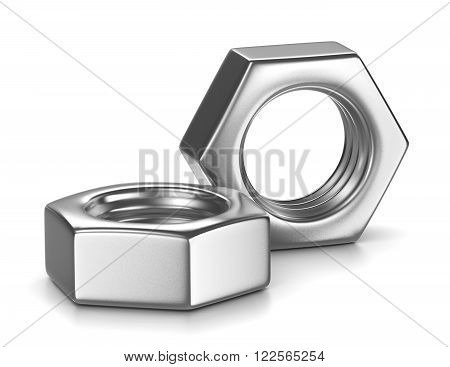 Two Metal Nut on White Background Illustration