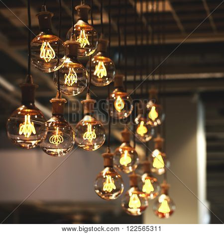 Group of lamps with interesting shape of tungsten filament. ** Note: Shallow depth of field