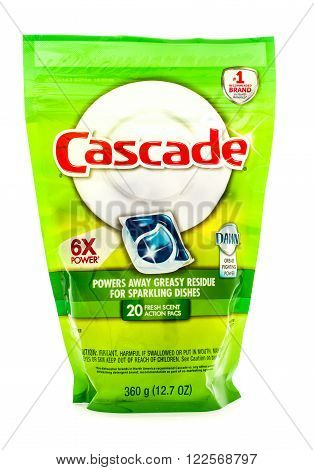 Winneconne WI - 18 August 2015: Bag of Cascade action pacs with Dawn
