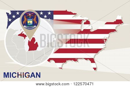 Usa Map With Magnified Michigan State. Michigan Flag And Map.