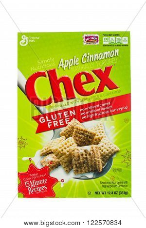 Winneconne WI - 5 February 2015: Box of Chex Apple Cinnamon cereal a product of General Mills.
