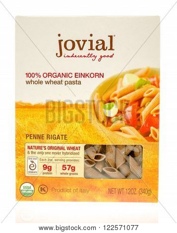 Winneconne WI - 19 Nov 2015: Box of Jovial 100% organci whole wheat pasta