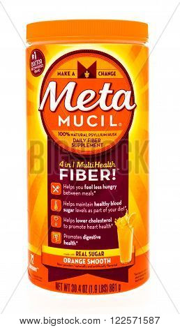 Winneconne WI -24 Sept 2015: Container of Meta Mucil daily fiber supplement in orange flavor.