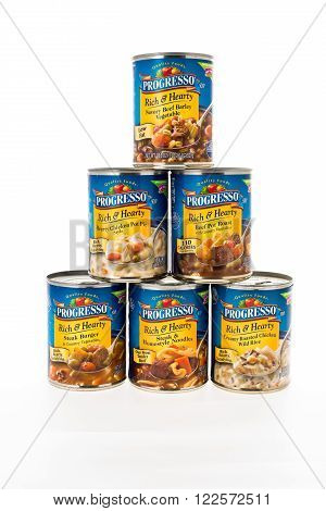 Winneconne WI - 8 February 2015: Cans of Progresso Rich & Hearty style soup in a pyramid shape.