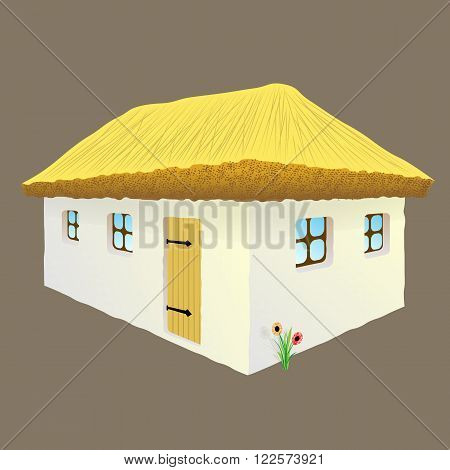 vector illustration of Ukrainian hut image. The symbol of the Ukrainian village. Eco-friendly housing, wattle and daub hut