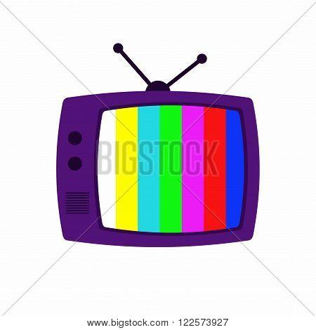 TV icon isolated on grey background. Retro TV icon flat style. Black TV icon vector illustration
