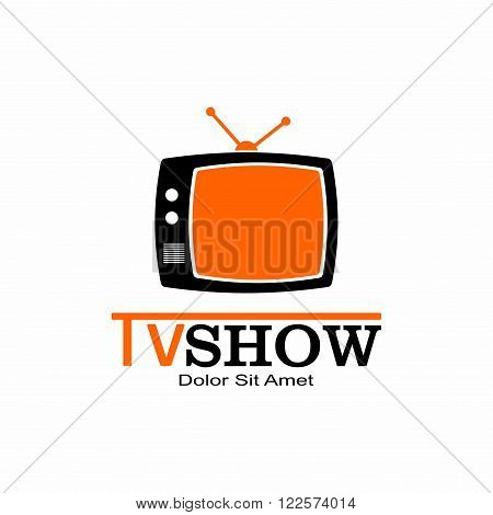 Retro TV and Media Logo in flat style isolated on white background. Vector Illustration