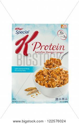Winneconne, WI - 5 February 2015: Box of Kellogg's Special K Protein cereal. Marketed as a low fat cereal.