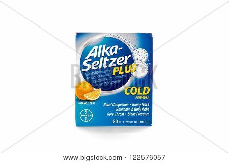 Winneconne WI - 9 February 2015: Package of Alka-Seltzer Plus cold formula.
