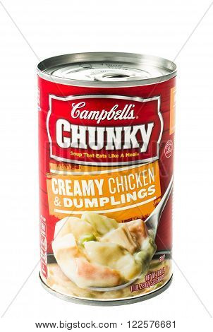 Winneconne WI - 5 February 2015: Can of Campbell's Chunky Creamy Chicken & Dumplings soup.