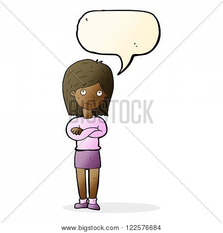 cartoon friendly girl rolling eyes with speech bubble
