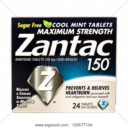 Winneconne WI -25 Sept 2015: Box of Zantac anti acid indigestion medicine.