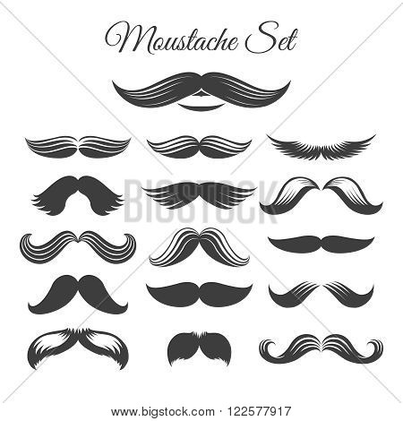 Mustaches icons. Black and white vector mustache icons or whisker signs for design with mustaches or print mustaches