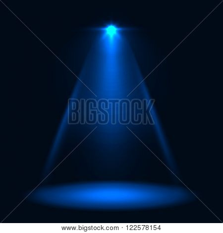 Abstract blue stage spotlight vector background. Layered eps10 file light template.
