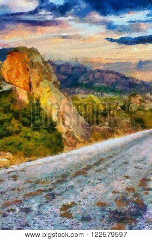 A digital painting of rock formations in Kapikiri Turkey