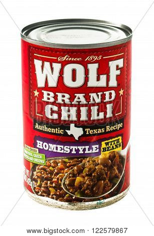 Winneconne WI - 5 February 2015: Can of Wolf Brand Chili Homestyle flavor with beans.