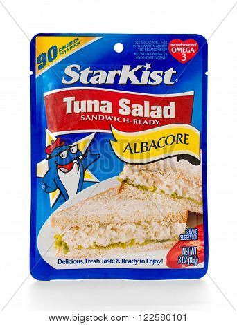 Winneconne WI - 7 February 2015: Pouch of Albacore Tuna Salad made by Starkist.