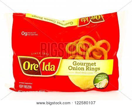 Winneconne WI - 29 August 2015: Bag of Ore Ida gourmet onion rings