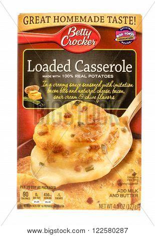 Winneconne WI - 26 Nov 2015: Box of loaded casserole made by Betty Crocker