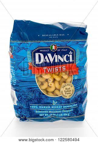 Winneconne WI - 8 February 2015: Bag of Davinci Twists macaroni pasta.