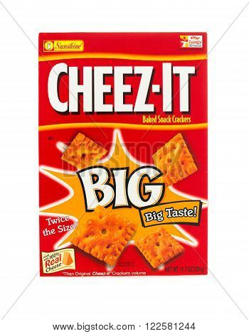 Winneconne, WI - 4 February 2015: Cheez-it Big box of crackers created in 1921 and is now owned by Kellogg Company.