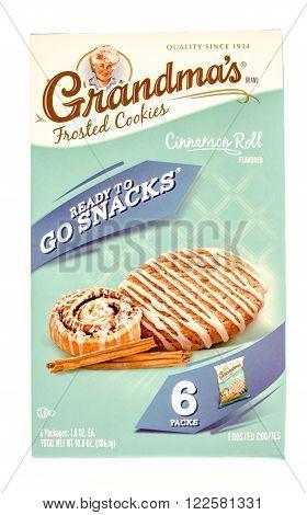 Winneconne WI - 27 Sept 2015: Box of Grandma's frosted cookies in cinnamon roll flavor.