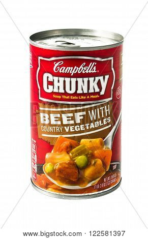 Winneconne WI - 5 February 2015: Can of Campbell's Chunky Beef with Country Vegetables soup.