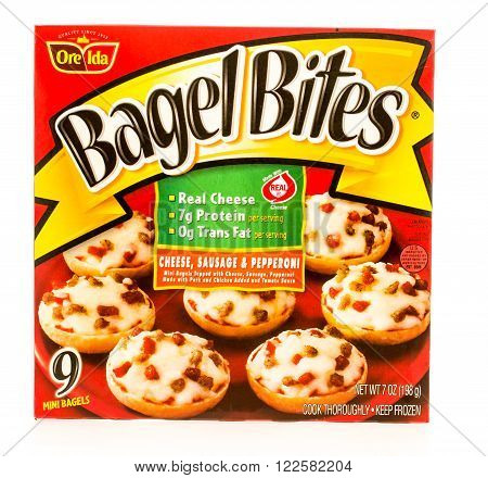 Winneconne WI -19 Sept 2015: Box of Bagel Bites made by Ore Ida in cheese sausge and pepperoni flavor.