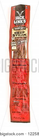 Winneconne WI - 25 August 2015: A stick of Jack Links jumbo beef steak in barbecue flavor.