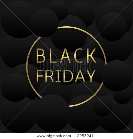 Golden black friday text on black abstract background